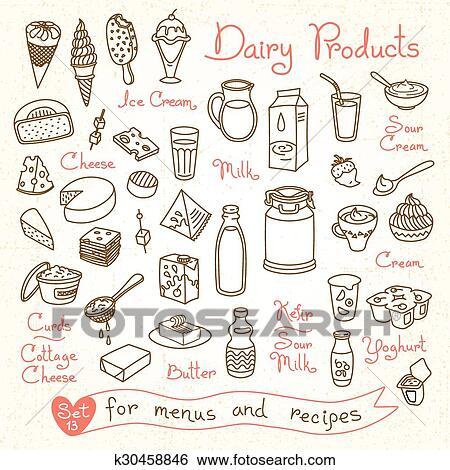Clip art set disegni di latte e latticini per for Piccoli disegni cottage