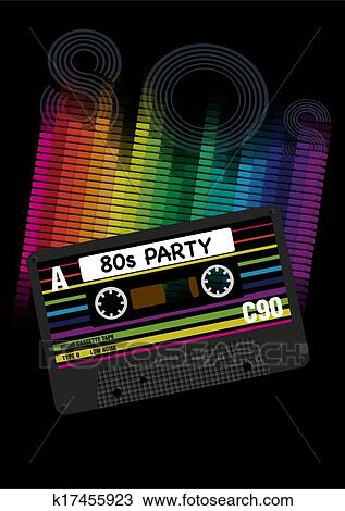 Vector 80s Party Background Clipart | k17455923 | Fotosearch