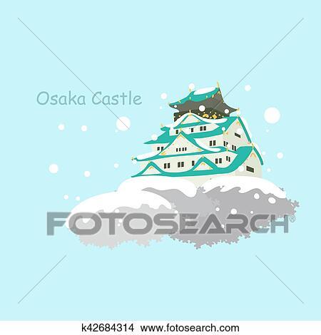 日本 大阪城 中に 冬 クリップアート切り張りイラスト絵画集
