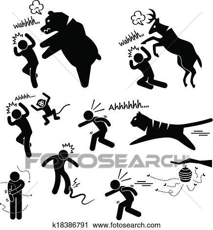 野生 動物 攻撃 傷つくこと 人間 クリップアート切り張りイラスト