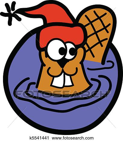 Clipart of Beaver wearing winter stocking cap k5541441 - Search Clip ... abff310ca0e9