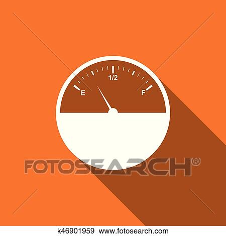 Fuel gauge flat icon with long shadow  Vector Illustration Clip Art