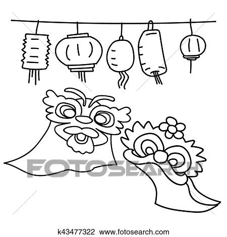 clipart hand drawing cartoon elements for happy chinese new year fotosearch search clip