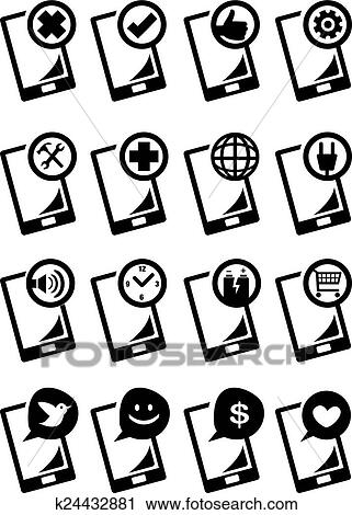 Clipart Of Handphone Function Icon Set Vector Illustration K24432881