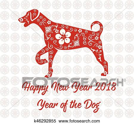 clipart happy chinese new year 2018 card year of dog fotosearch search