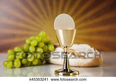 Stock Photography Of Holy Communion Bread Wine For Christianity
