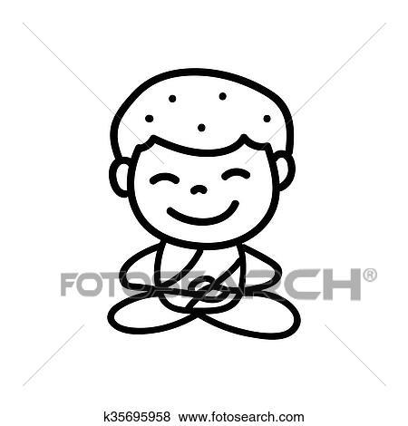 Mano Disegno Cartone Animato Felice Monaco Mediazione Clip Art