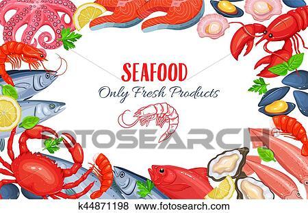Clip Art - meeresfrüchte, produkt, plakat k44871198 - Suche Clipart ...