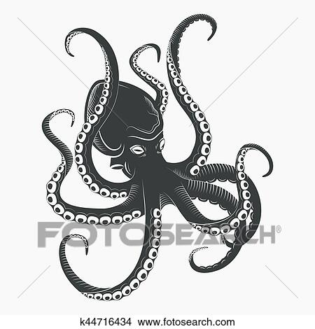 Clipart Of Ocean Octopus Or Sea Octopoda With Tentacles K44716434