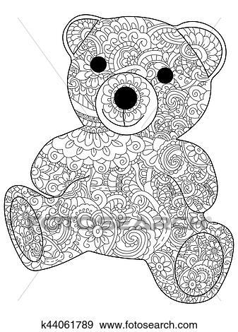 Clip Art - plüsch- spielzeug, bär, färbung, vektor, für, erwachsene ...