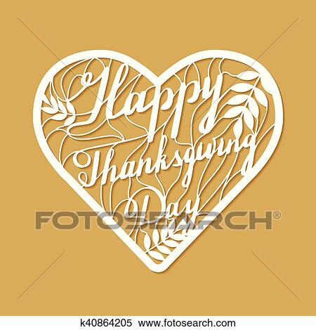 Clipart of Thanksgiving laser cutting template k40864205 - Search ...