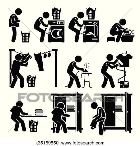 clipart w sche arbeiten waschen kleidung k35169550 suche clip art illustration wandbilder. Black Bedroom Furniture Sets. Home Design Ideas