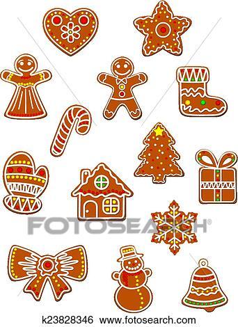 clip art weihnachten lebkuchen pl tzchen satz. Black Bedroom Furniture Sets. Home Design Ideas