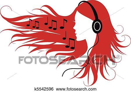 clip art of woman listening music k5542596 search clipart rh fotosearch com boy listening to music clipart person listening to music clipart