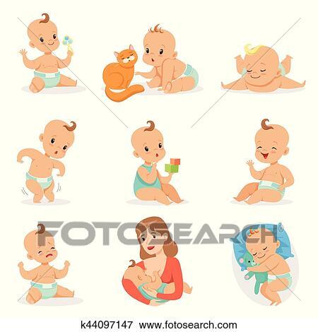 Adorable Heureux Bébé Et Sien Routine Quotidienne Ensemble De Mignon Dessin Animé Enfance Et Nourrisson Illustrations Clipart