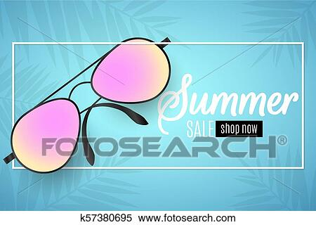 e5e27a19b0eb Advertising web banner for summer sale. Beach sunglasses in a white frame  on a blue background. Glare bokeh. Leaves of a palm tree. Special offer.