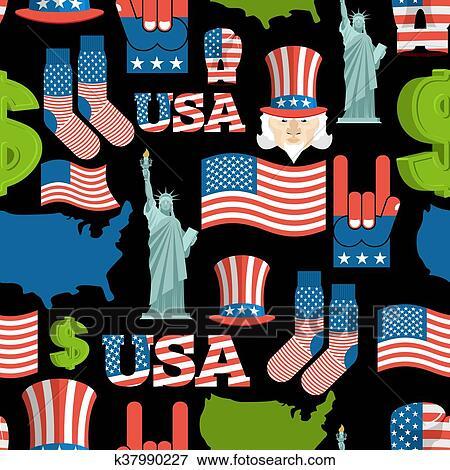 Clip Art Of America Symbols Patriotic Pattern Usa National Ornament