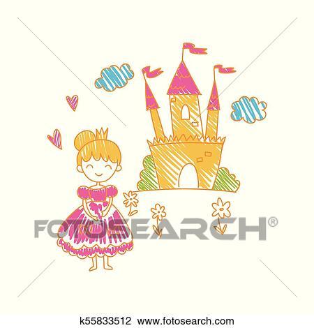 Coloridos Infantil Desenho De Castelo E Princesa Vetorial