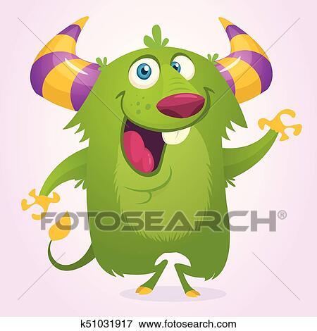 Cute Cartoon Horned And Fluffy Monster Troll Or Goblin Vector Illustration Clip Art K51031917 Fotosearch