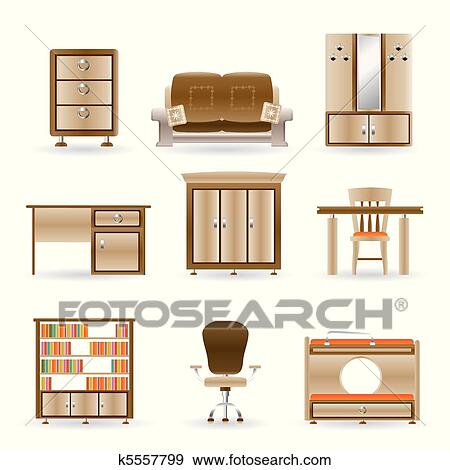 Clip Art - eigenheim, und, büromöbel k5557799 - Suche Clipart ...