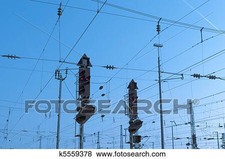 Bilder - eisenbahn, signal, und, oben, verdrahtung k5559378 - Suche ...