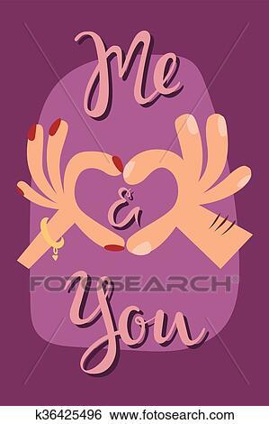 Femme Mains Confection A Forme Coeur Signe Dessin Animé Plat Romantique Carte Vecteur Illustration Clipart