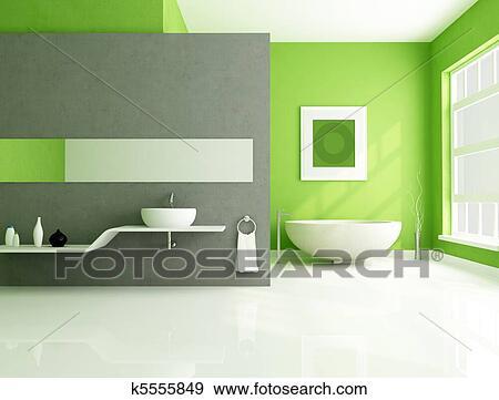 Grün, und, grau, modernes, badezimmer Stock Foto