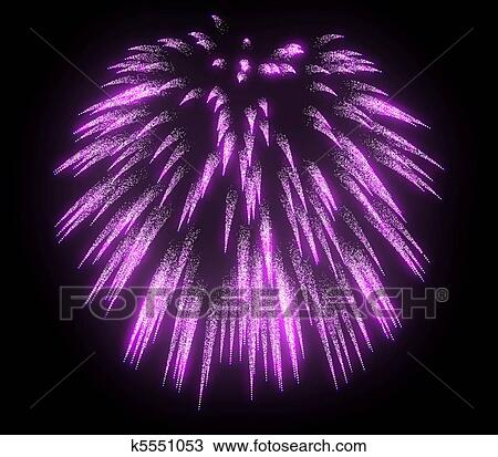 Dibujo Lila Festivo Fuegos Artificiales Por La Noche K5551053