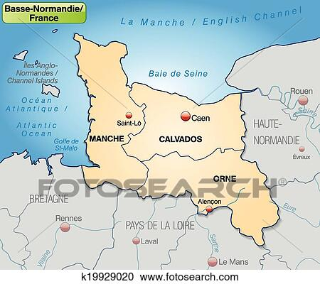 Clipart Of Map Of Lower Normandy K19929020 Search Clip Art