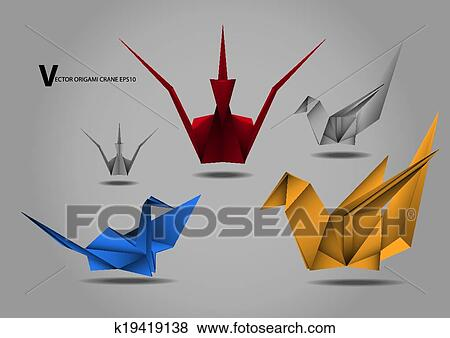 Clip Art Of Origami Crane Bird Papertoy K19419138