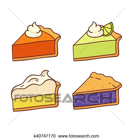 Clipart - pastel, rebanadas, conjunto k40747170 - Buscar Clip Art ...