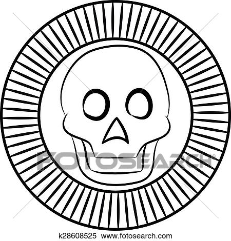 Clipart Of Skull The God Of Death Of Aztecs Stylization K28608525