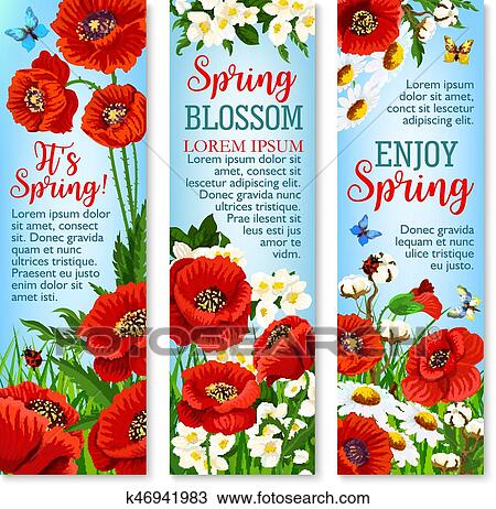 Clipart Of Spring Flower Field For Greeting Banner Template