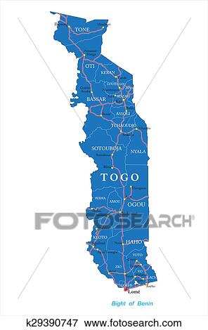 Stock Illustration of Togo map k29390747 - Search EPS Clipart ...