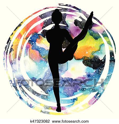women silhouette bird of paradise yoga pose svarga