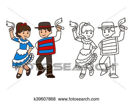 Clip Art - baile tradicional, niños k39607868 - Buscar Clip Art ...