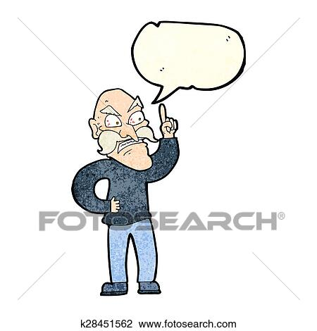 Cartoon Old Man Laying Down Rules With Speech Bubble Drawing K28451562 Fotosearch