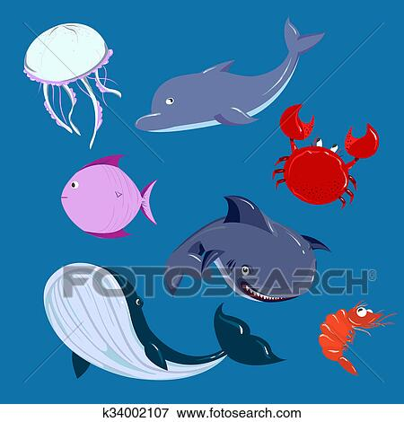Stock Illustration Of Cartoon Sea Animals Set Vector Dolphine Whale