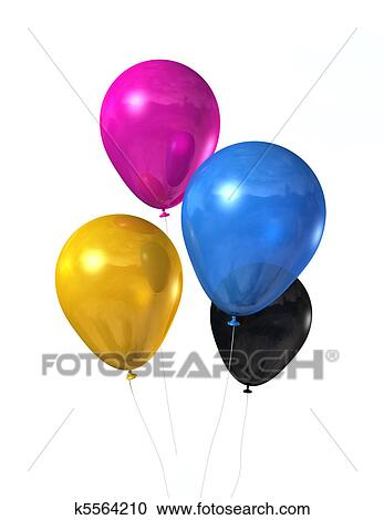 stock illustrations of cmyk colored balloons isolated on white