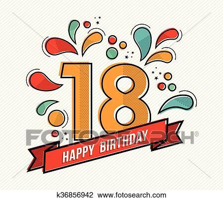 Clipart Colorito Buon Compleanno Numero 18 Linea Fissa