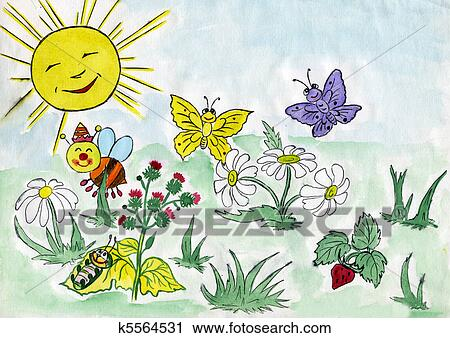 Dessin enfant de nature clipart k5564531 fotosearch - Dessin de nature ...
