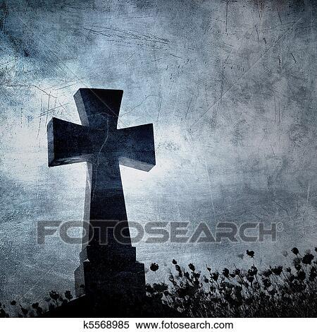 Halloween Kruis.Grunge Beeld Van Een Kruis In De Begraafplaats Perfect Halloween Achtergrond Stock Illustraties