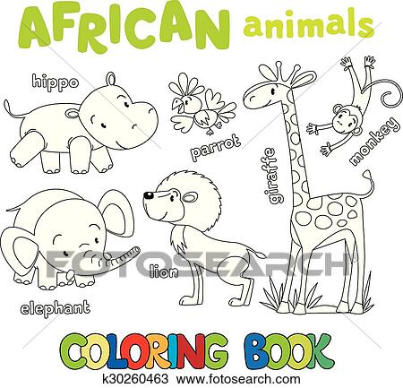 Clipart - libro colorear, de, divertido, africano, animales ...