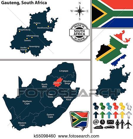 maps south africa gauteng Map Of Gauteng South Africa Clipart K55098460 Fotosearch maps south africa gauteng