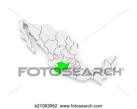 Map of Michoacan. Mexico Drawing