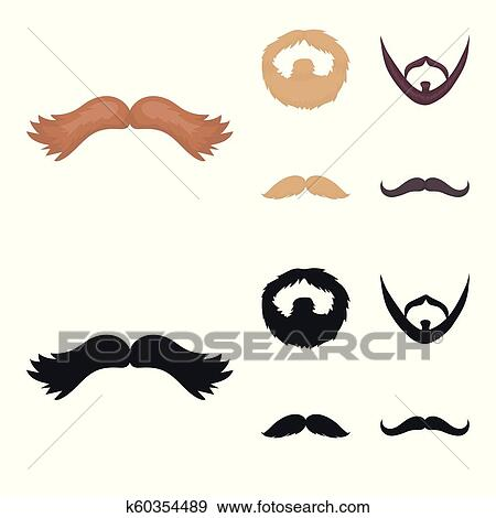 Clip Art Of Mustache And Beard Hairstyles Cartoonblack Icons In