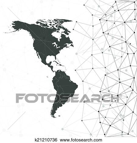 North and South America map vector, illustration for communication Clip Art