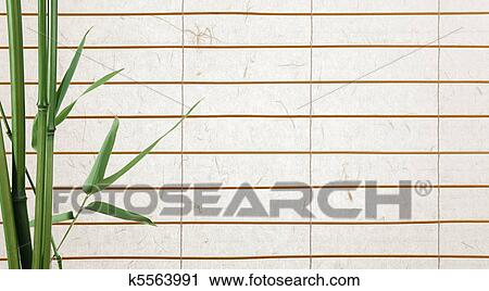 Rice Paper Background With Bamboo Leaves Stock Image K5563991 Fotosearch