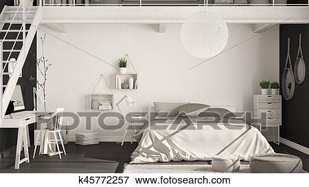 Scandinave, minimaliste, grenier, chambre à coucher, à, bureau ...
