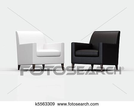 Stock Fotograf Schwarz Weiß Sessel K5563309 Suche Stock